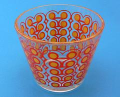 Mod Revival Vintage Geometric Bowl (jollypollypickins) Tags: orange geometric glass yellow vintage bright circles kitsch funky housewares bowl retro etsy serving icebucket modrevival popcornbowl jollypollypickins