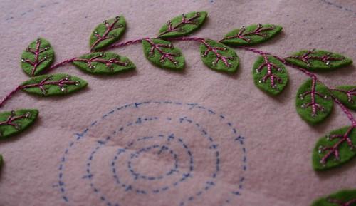 Felt embroidery work in progress