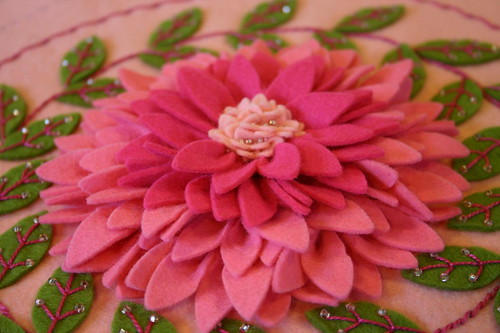 pink dahlia felt embroidery