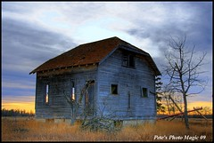 HDR #310 - Sunset House (Pete's Photo Magic) Tags: wood old house canada building abandoned barn vintage log pentax shed machine forgotten alberta abandonment hdr 3xp photomatix