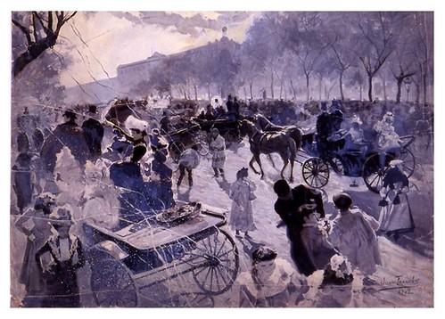 I.E.A. 15 FEBRERO 1902 - 1.º N.º VI. Pág. 89. MADRID.- EL CARNAVAL EN RECOLETOS- DIBUJO DE JUAN FRANCÉS