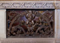 Bremen, Dom St. Petri, fence, detail (groenling) Tags: man fence de cathedral dom mann bremen brass hansa hb grotesque hanse hansestadt stpetri gehege