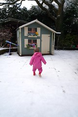Girl on a Mission (Martin Berkeley) Tags: door leica pink flowers winter red white snow cold tree wales kids children oak child boots cardiff picasa shutters wellingtons wendyhouse windowboxes cyncoed martinberkeley