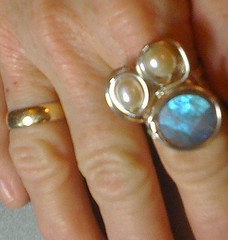 pearl and labradorite ring