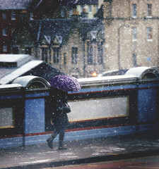 (`Anonymous) Tags: bridge cold by umbrella edinburgh purple sony windy 300mm a380 snowing alpha anonymous fahad ladywalking almarri