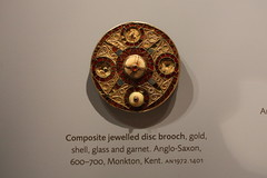 Composite jewelled disc brooch (noriko.stardust) Tags: old red museum gold ancient crystal antique medieval jewellery ornament oxford hoard disc gem garnet ashmolean