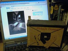 1975 Pinhole Camera (Whiskeygonebad) Tags: windows paper flickr laptop wideangle pinhole cardboard homebrew cellar cameraobscura rectilinear