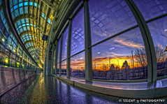 Sunrise at O'Hare International Airport (Silent G Photography) Tags: travel chicago reflection sunrise photography illinois airport terminal ohare il fisheye hdr highdynamicrange ohareinternationalairport nikkor105mmf28fisheye highdynamicrangephotography nikond7000 markgvazdinskas silentgphotography