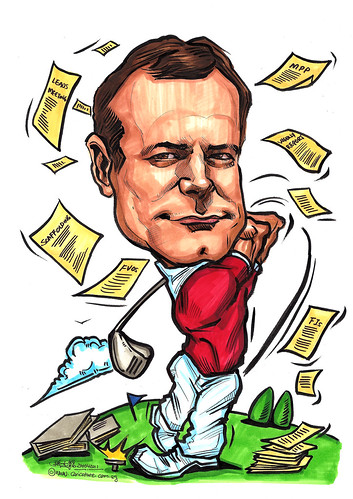 Golfer caricature for ExxonMobil Chemical Plant