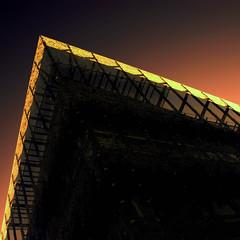 Sturm und Drang (Arni J.M.) Tags: building glass wall architecture dark geotagged iceland islandia geotag sunbeam garabr sland islande islanda geotags gardabaer sturmunddrang nikond80 glassskeleton