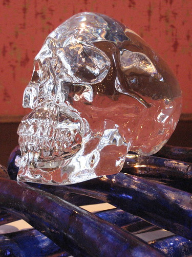 glass skull on glass bones by Jan Fabre at the exhibition Glasstress in Venice