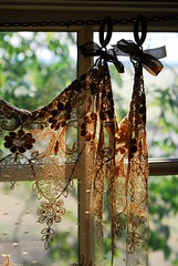 (lil annie oakley) Tags: sunset window floral warm lace curtain detailed fredericksburgtexas