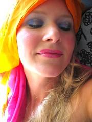 orange and pink (EP Holcomb) Tags: pink blue orange selfportrait glitter scarf eyeshadow