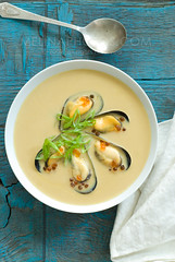 veloute (mwhammer) Tags: blue food orange color green texture yellow juicy colorful display rustic special round mussels simple scallions mealtime ikura firm overhead roe plump washingtoncoast creamy velvety veloute melinahammer foodandpropstyling