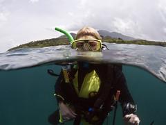 Diver portrait Gill (Paul Flandinette) Tags: ocean indonesia divers nikon underwater wideangle northsulawesi gill marinelife underwaterphotography bunaken splitshot 1017mm overandundershot paulflandinette