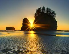 Second Beach Sunset -  Olympic National Park (kevin mcneal) Tags: ocean sunset beach coastal sunburst lowtide forks olympicnationalpark secondbeach top20sunsets