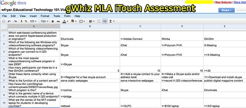 gWhiz MLA iTouch Assessment