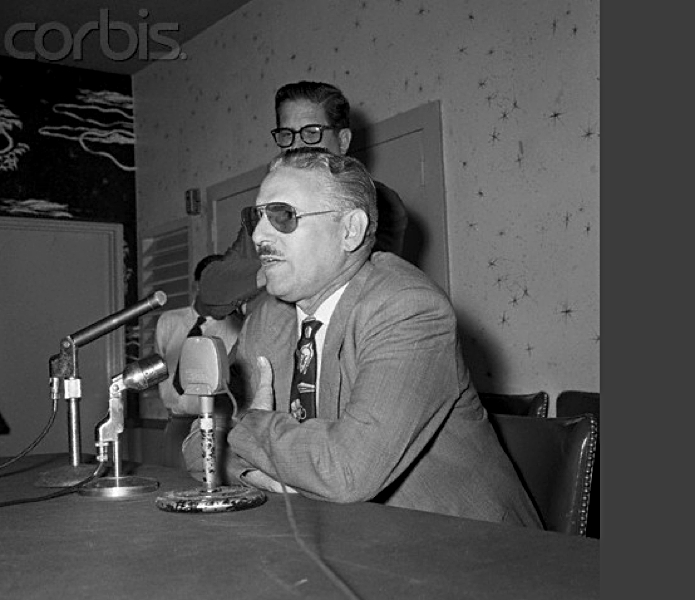 Carlos Prio Socarras press conference Miami 5-10-56