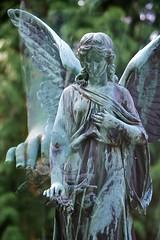Roses on my grave (melquiades1898) Tags: friedhof cemetery grave angel germany nikon hessen doubleexposure engel grab darmstadt alterfriedhof wmf d90 doppelbelichtung württembergischemetallwarenfabrik