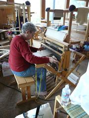 Weaving Teri at small loom P1060512 (fringedbenefit) Tags: colorado rockymountains weaving looms creedecolorado