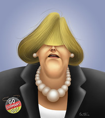 Angela Merkel's Caricature (Ben Heine) Tags: wallpaper portrait woman berlin art face germany collier print poster necklace funny flag femme humor cdu pins