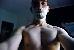 Shaving Day (Tomitheos) Tags: portrait selfportrait toronto canada me myself nikon flickr image skin barechested avatar yo picture eu optical pic daily uomo photograph shave friday capture now today tgif ich 2009 barechest mig halfnaked nudo torontoontario stockphotography shavingfoam ontariocanada facecream selfwithcamera halfdressed  maschile shamelesslyshirtless shavingday greatwalloffaces maleautoportrait latheredup bytomitheos tomlinardos