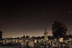 Graveyard (Barry J. Schwartz) Tags: longexposure grave graveyard canon stars star startrails 24l 5dmkii 5dmk2 barryjschwartzcom