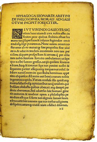 Woodcut initial in Brunus Aretinus, Leonardus: Isagogicon moralis disciplinae