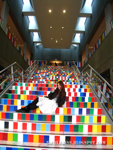 me on colorful stairs