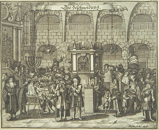 Circumcision, 1724, from Juedisches Ceremoniel