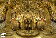 Below the Large Staircase (A.G. Photographe) Tags: fish paris france monument painting french picture peinture fisheye ag operahouse opra garnier franais hdr anto photographe palaisgarnier muralpainting xiii opragarnier parisien charlesgarnier musicaltheater 16mmfisheye voussure picturegallery frescopainting d700 pauljacquesaimbaudry interiorpaint thegoldenphoenix grandescalier largestaircase 16mmnikonfisheye hdr5raw isidorealexandreaugustepils agphotographe