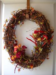 Fall Wreath (Kate + Ice Cream) Tags: flowers autumn fall artificial wreath grapes grapevine