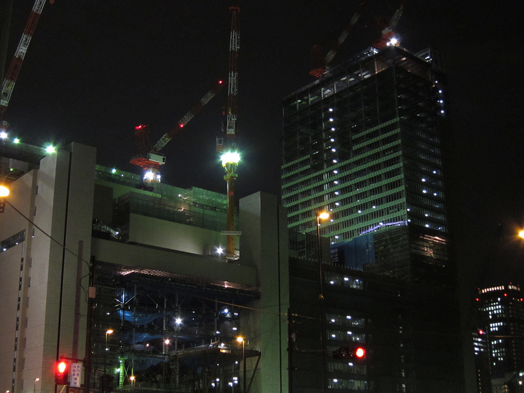 Night view constructing new Osaka Station building