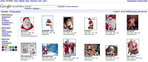 Joulupukki Googlen kuvahaussa