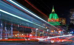 confusion is nothing new (pbo31) Tags: sf sanfrancisco california christmas longexposure light usa holiday motion color green architecture night dark lights moving movement lowlight nikon december traffic cityhall structure dome d200 2009 civiccenter traffictrails lightstream
