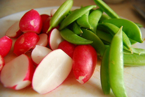 Radishes and snap peas