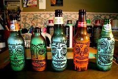 bottles. (Sean Bernhardt Art) Tags: art beer paint bottles bernhardt sean spray characters creatures budweiser fecalface
