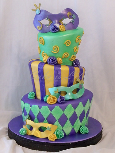 Mardi Gras Wedding Shower Cake