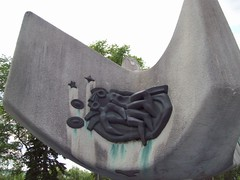 Detail of Sculpture (raise my voice) Tags: skyline museum pagoda edmonton totem alberta grounds provincial