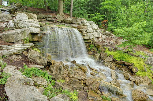 Waterfall, in Forest Park, Saint Louis, Missouri, USA - 2