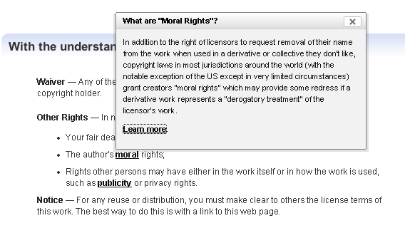 Moral Rights for Creative Commons
