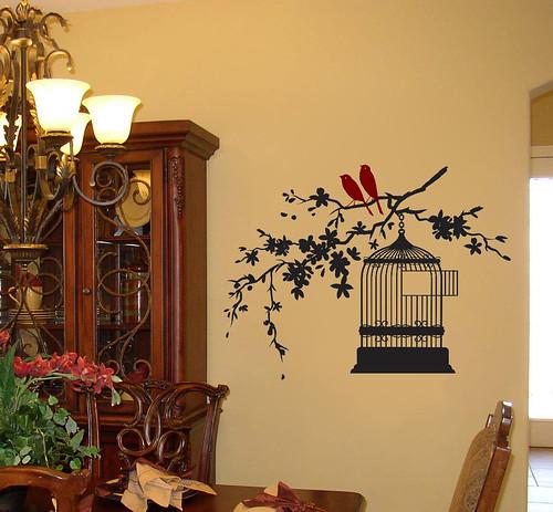 cherry blossombirdcage with birdsdiningroom