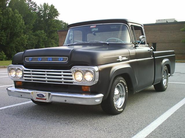 black ford truck pickup f100 1958 1957 satin 1959