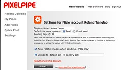 Pixelpipe - settings for flickr account roland (for tech support)
