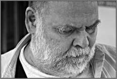 The Professor (bonjour lulu) Tags: vacation blackandwhite canon beard concentration dad father teacher frame mustache professor