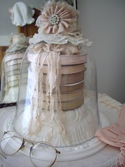 shabby chic vignette/living room (skblanks) Tags: pink etched baby white lamp lady vintage silver ruffles gold glasses mirror pin dolls lace antique crochet cottage victorian cream silk books frame brushes glove romantic ribbon chic rayon bonnet cushion showcase seam bows binding taupe ironstone shabby ecru