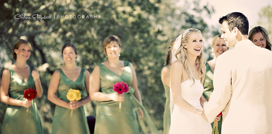 elings park santa barbara wedding ceremony green bridesmaids dresses