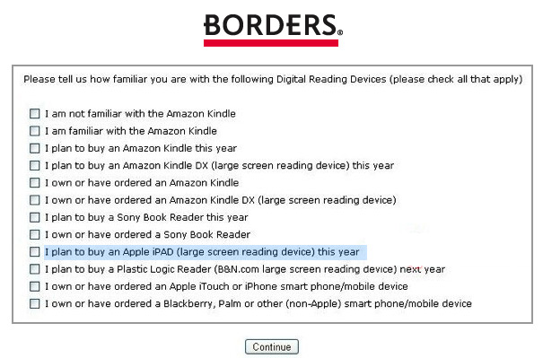 Borders Books Marketing Survey