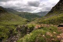England: Cumbria - Bow Fell and Pike of Stickle (Tim Blessed) Tags: uk sky mountains nature clouds landscapes countryside scenery rocks hills cumbria lakedistrictnationalpark singlerawtonemapped
