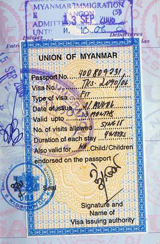 Visa for Burma (Myanmar)